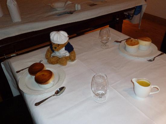 Cheshire Cooks : Ollie Bear with Lemon Souffle and Passion Fruit/Mango Coulee