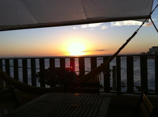 Albergue Pedra da Sereia: sunset from the verandah