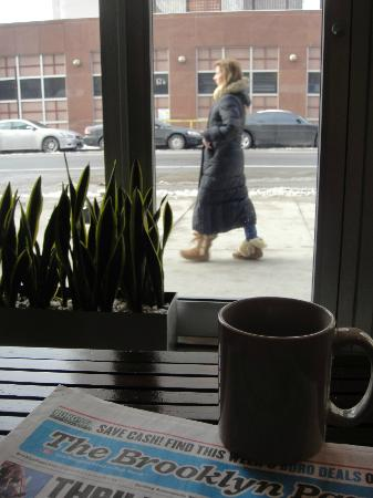 NU Hotel: Coffee, the local paper, and people watching. No better way to start my morning!