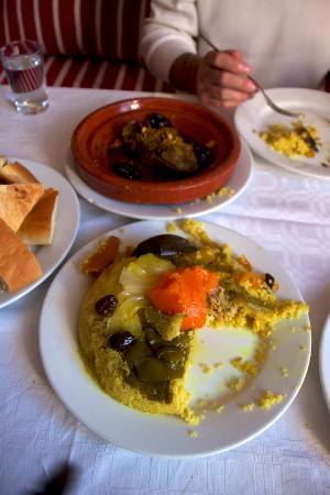 Restaurant Hamadi: Chicken Couscous (front) and Lamb Tajine (back)
