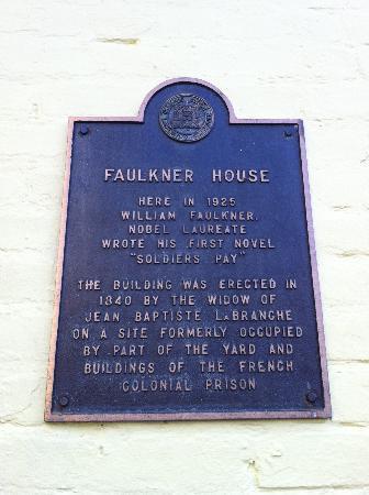 Faulkner House Books: plaque