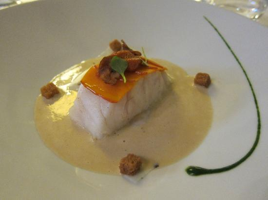 Bar with pumpkin and sea urchin on seiche veil with creamy chestnut sauce, Maison Lameloise
