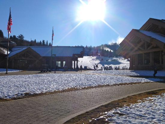 Snowbasin Resort: A view of the Day Lodges at base camp.