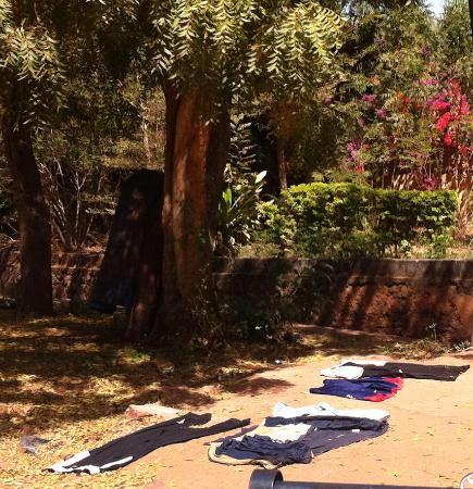Bamako city centre, market : Laundry out to dry