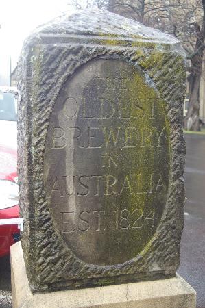 Cascade Brewery: Historic stone plaque
