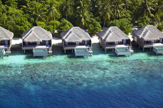Dusit Thani Maldives: Aerial view of Water Villas