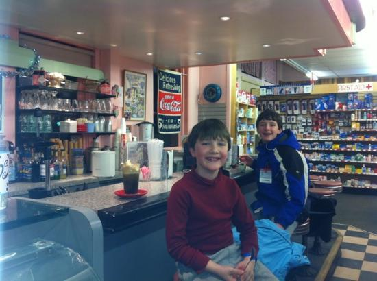 Lyon's Corner Drug & Soda Fountain: the boys enjoying ice cream at the soda fountain