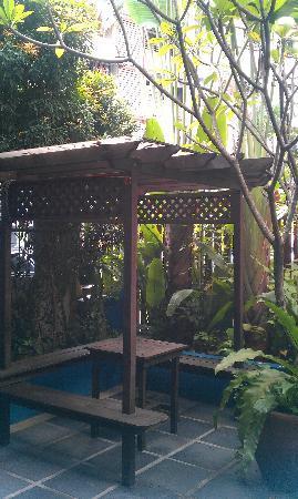 """Travellers Palm Lodge: Ein netter kleiner """"Garten"""" wo man gemütliche Abende mit den Anderen Gäaten verbringen kann."""