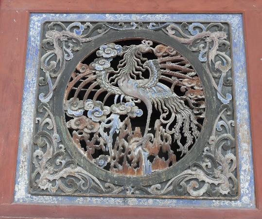 Fuxi Temple: Wand Skulptur Phoenix mit funf Glucks fledermäuse