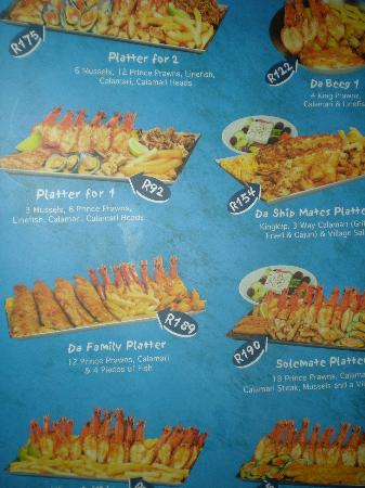 Part Of Their Menu Picture Of Ocean Basket Cape Town