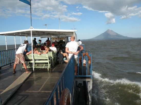 Hacienda Merida: Isla de Ometepe from ferry boat.