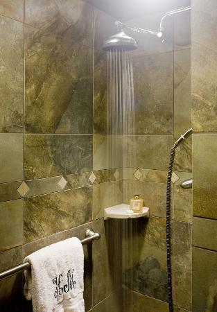 Hilltop Manor Bed & Breakfast: Shower with Rainmaker Head in Magnolia Suite