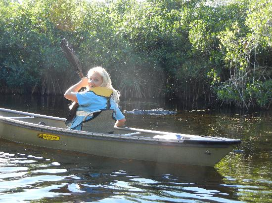 Everglades Area Tours: Our guide, Darlene, keeps our travel safe by staying between our group and a mother gator.