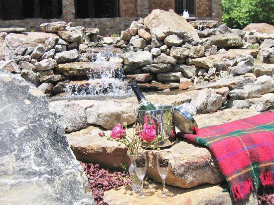 Hilltop Manor Bed & Breakfast: Waterfall in Front Yard