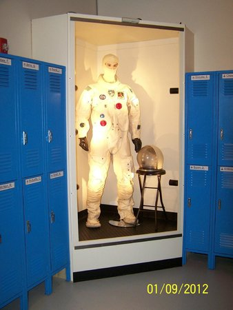 "Challenger Learning Center New Mexico: ""Dan"" displays a spacesuit in the ready room"