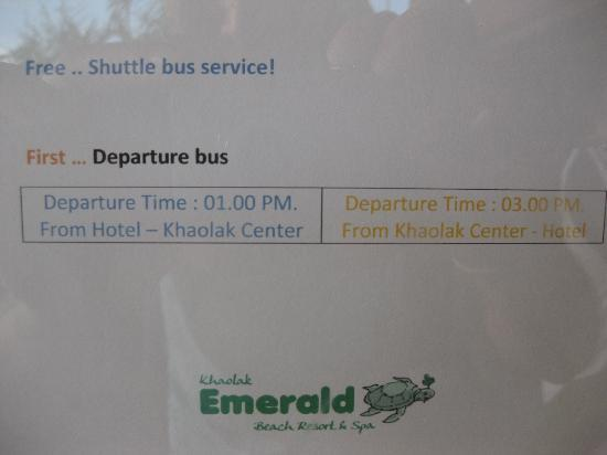 Khao Lak Emerald Beach Resort & Spa: shuttle info