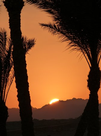 Aurora Sharm Resort: sunset over the mountains at rear of Hotel
