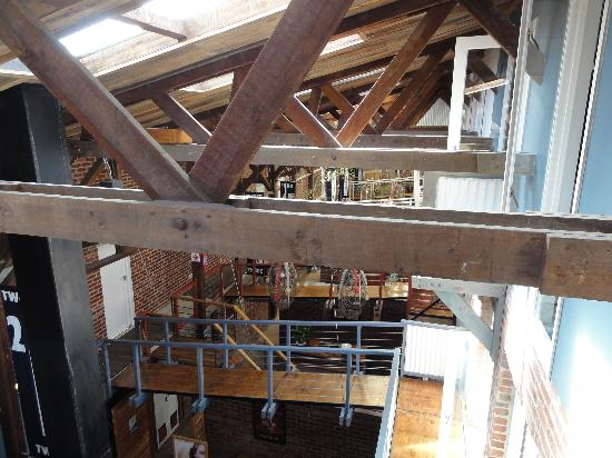 The Lofts Boutique Hotel: View inside the boatshed from balcony