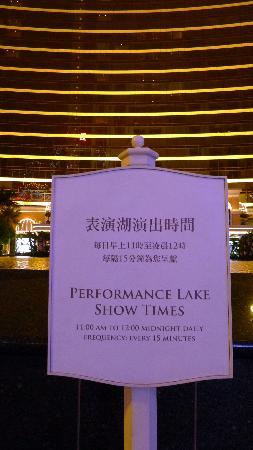 Performance Lake at Wynn Palace: Performing Lake - Performance Sign
