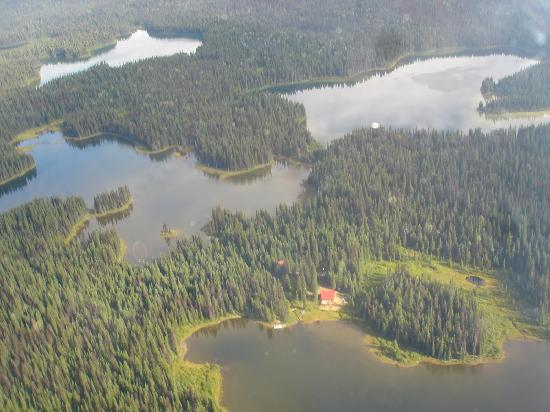 Meadow Lake Fishing Camp: Arial view of the Lodge and the three closest lakes