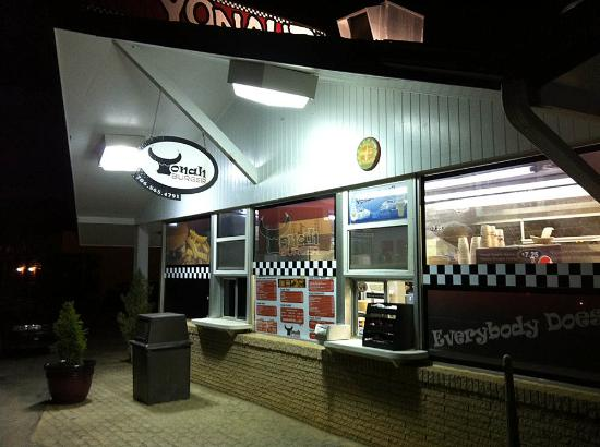 You can walk up and order to-go food from the windows or go inside ...