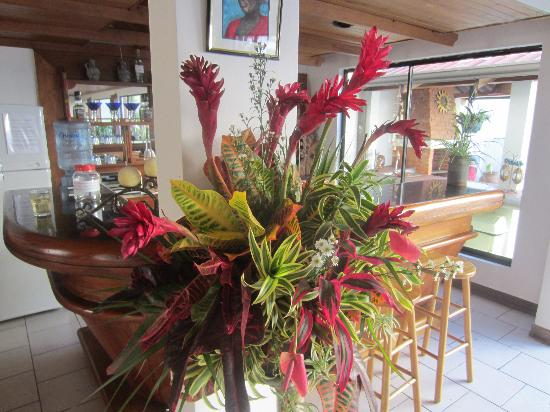 Casa Laurin B&B: Flowers at the Bar
