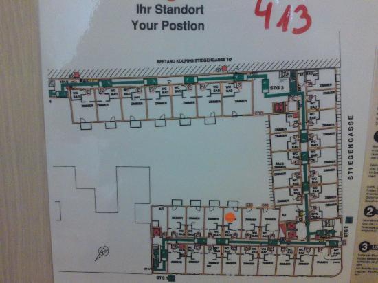 Kolpinghaus Wien-Zentral: Etagenplan 4. Stock Neubau