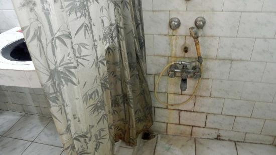 Mark & Meadows: Shower curtain and the shower taps...Oh, why can't they spend 200/- and replace the shower curta