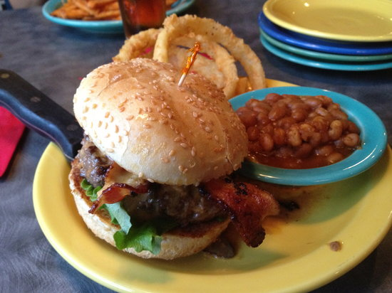 Square 1: My buffalo Burger and Baked Beans
