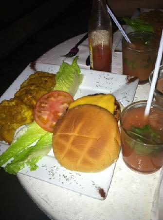 Oceana Hostal Playero: DELICIOUS salmon burger with tostones and a guava mojito for 10.00