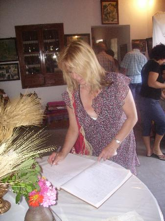 Folklore & Naval Museum : signing the visitors book   folklore museum kardamea kos