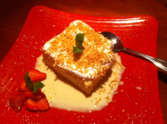 Mezza Grille: Coconut Tres Leches -- easily enough for two