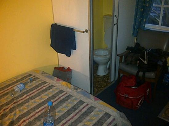 Mountjoy Guest Lodge: The room and the toilet in a box next to the bed