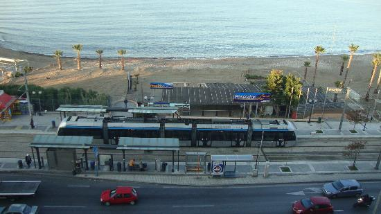 Athens Poseidon Hotel: The tram and bus stop opposite the street