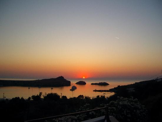 beautiful sunset in Lindos