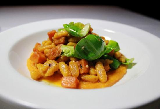Mezze Bistro & Bar: Squash Cavatelli with Brown Butter, Macadamia Nuts + Brussels Sprout Leaves -- Photo credit Ange
