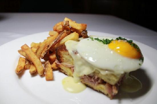 Mezze Bistro & Bar: Croque Madam with Housemade Ham, Berleberg Cheese, Brioche Bread, Dijon Mustard, Fried Mighty Fo