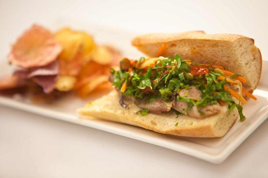 Allium Restaurant & Bar : Allium Banh Mi Sandwich with Vegetables, Cilantro, Mayo + Housemade Potato Chips -- Photo credit