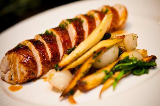 Allium Restaurant & Bar : Allium Wood Oven-Roasted Stuffed Chicken with Apples, Sausage, Celeriac Purèe, Parsnip + Carrots