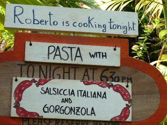 Villas Kalimba: announcement about Roberto's pasta))
