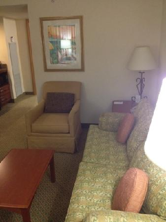 Embassy Suites by Hilton Destin - Miramar Beach: sofa and chair in living room. Kind of outdated but tolerable.