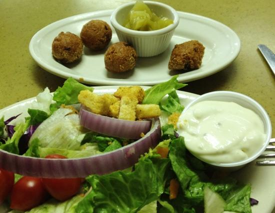 Vernon's Kuntry Katfish: Side salad with hush puppies and pickled green tomatoes