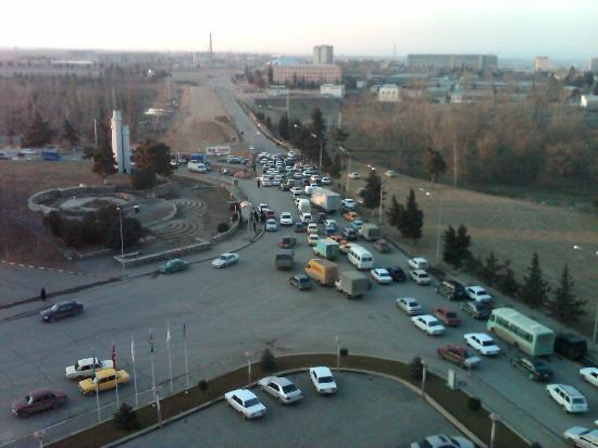 Ganja, Azerbaijan: Room view (looking toward the airport)