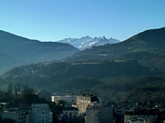 Chateau Fort de Lourdes : From the ramparts looking across at the far off snow capped Pyrenees.