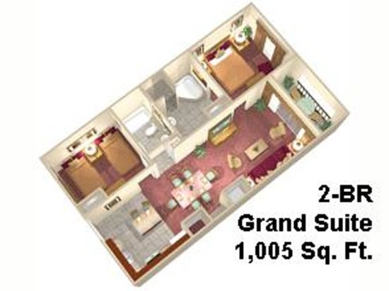 Floridays Resort Orlando  2 Bedroom Grand Suite with full kitchen   washer dryer. 3 Bedroom Suite Floorplan   Picture of Floridays Resort Orlando