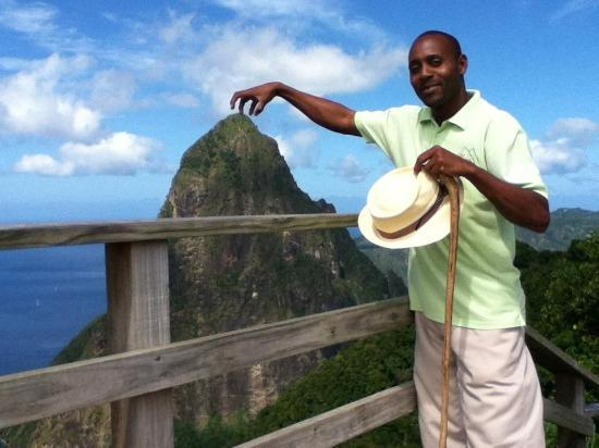 Soufriere, St. Lucia: Our guide, John Nestor arranging the Petit Piton.