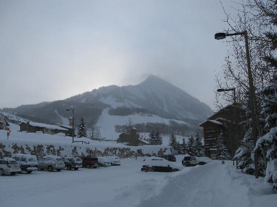 Grand Lodge Crested Butte: Early morning sun behind the butte.