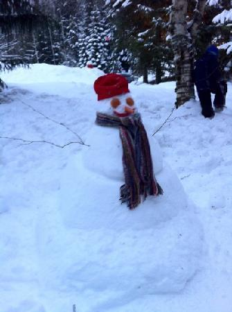Jolly the Snowman, made outside room 223 at Greystone Lodge