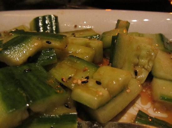 P F Chang's: SHANGHAI CUCUMBERS.  Great side!