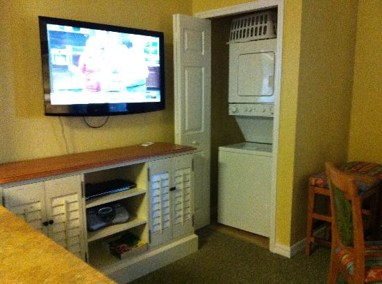 The Barefoot Suites: television and own washer and dryer in room. It is loud